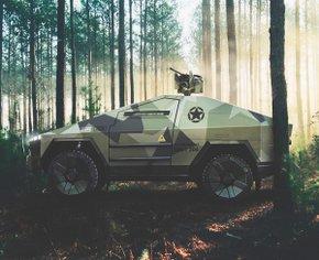 Как выглядел бы Tesla Cybertruck, если бы был военной машиной