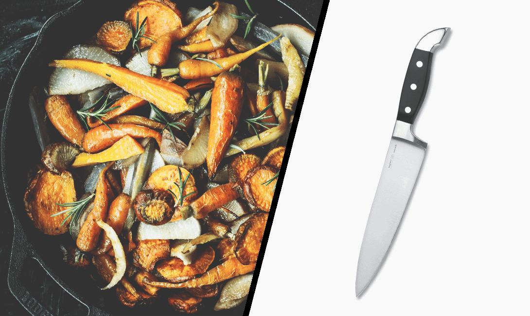 Поварской нож для нарезки овощей, шинковки зелени, а также для обвалки и разделки мяса.