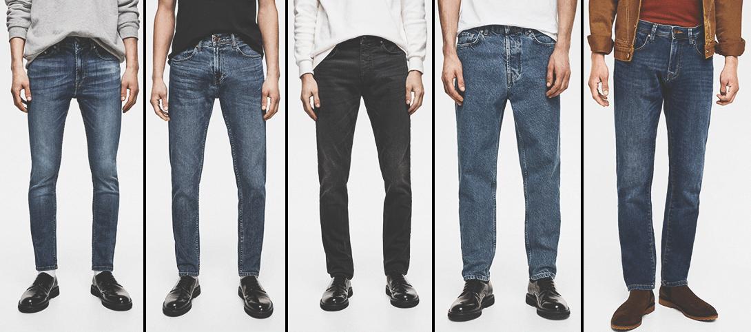 Картинка 5 распространенных фасонов мужских джинсов