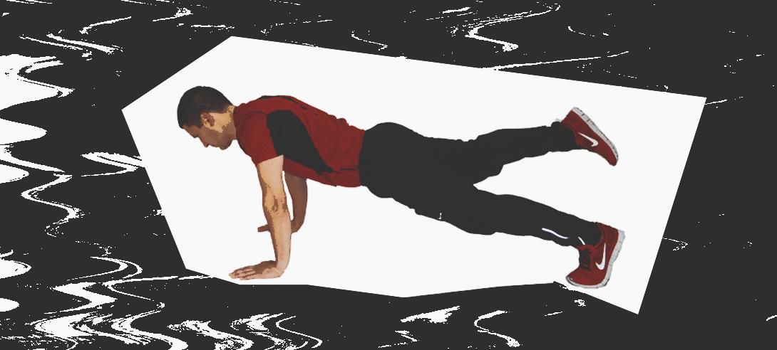 Поднятие ног и рук в планке на локтях